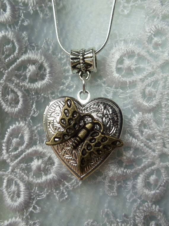 Silver heart locket Necklace, Necklace Locket with butterfly opens to display photo