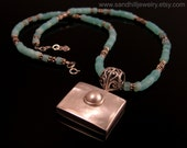 Mother Of Pearl Pendant necklace with Blue Peruvian Opal, Sterling Silver, and Matching Earrings (SJ-112)
