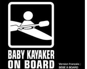 Baby on board sticker - kayaker - (5.5 x 8)
