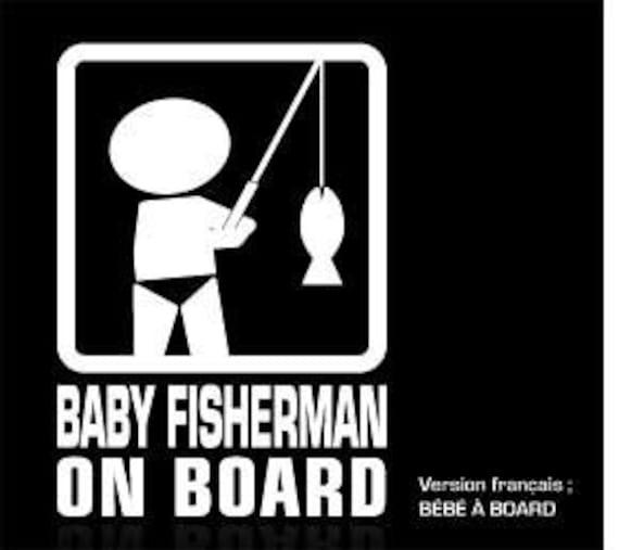Baby on board sticker - fisherman - (5.5 x 8)