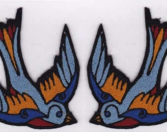 Pair of Swallows Embroidery Applique Patch Set