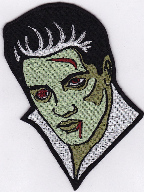 "5"" Zombie Elvis Embroidery Applique Patch"
