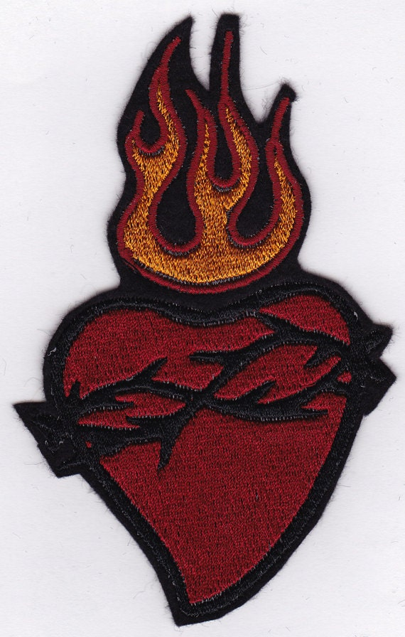 "5"" Sacred Heart Embroidery Applique Patch"