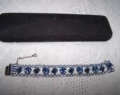 April sale sale BLUE RHINESTONE vintage bracelet wide 7/8 inch wide silvertone safety clasp