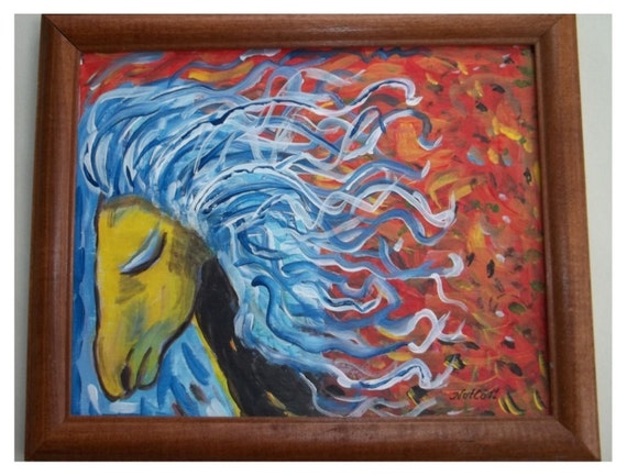 "Orange Horse, 9"" x 11"" Original  Acrylic Painting"
