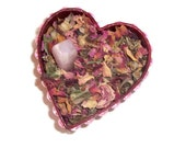 Heart Box with Rose Herbs and Rose Quartz Tumbled Stone
