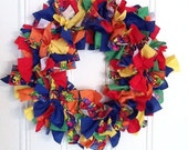 Autism Awareness Puzzle Ribbon Wreath on 12 inch frame