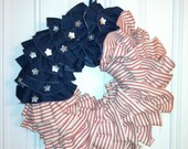 Red, White and Blue Shabby Chic Ruffle Wreath
