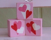 Valentines Day- Wooden Blocks- Hearts- Red- Pink- White- Room Decor