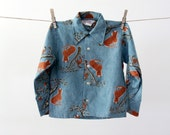 little foxes / vintage kids shirt / new old stock / size 6