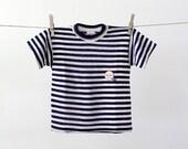 vintage kids stripe tee / 60s nautical t-shirt / size 8