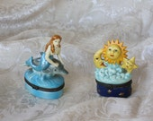Mermaid, Dolphin, Sun, Moon Small Charm/Treasure Ceramic Boxes Adorable