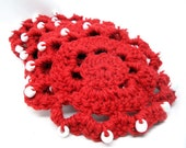Red Beaded Crocheted Coasters - Set of 4