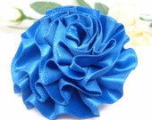 Royal Blue Satin Ribbon Rose with Pin Back