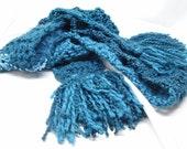 Aqua Blue Crochet Fashion Skinny Scarf