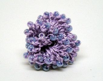 Purple Beaded Crocheted Rose Pin