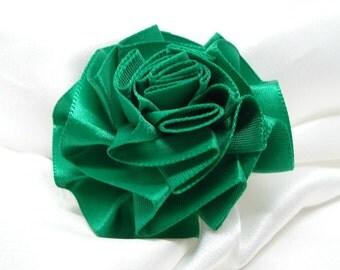 Ribbon Rose Pin Back Green Satin Flower Rosette