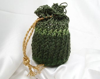 Green and Gold Loom Knit Bag