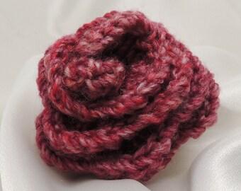 Crocheted Burgundy Rose Flower Pin