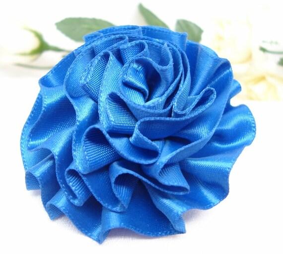 Royal Blue Satin Ribbon Rose with Pin Back