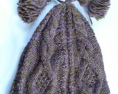Hand Knit Purple Cable Hat with Bobbles and Tassels
