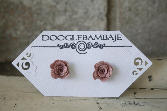 Mini Rustic Dusky Pink Taupe Design- Rustic Dusky Pink and Taupe Tan/Brown Fabric Rose Earrings Wedding- Mini Dainty Rose - Classy Line