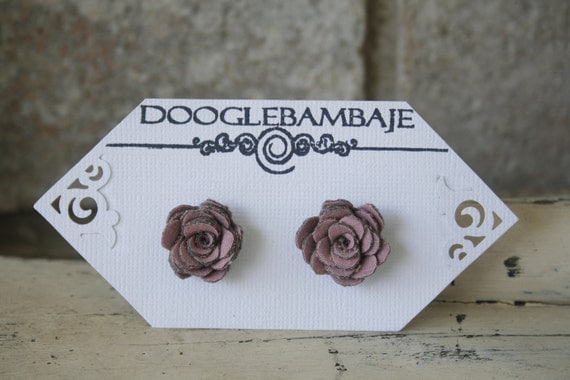 Mini Rustic Dusky Pink Ash Design- Rustic Dusky Pink and Charcoal Grey Corduroy Fabric Rose Flower Earrings Wedding- Mini Dainty Rose