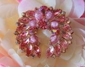 Vintage Pink Rhinestone Brooch with Purple Beads and a Gold Tone Setting - 1960's
