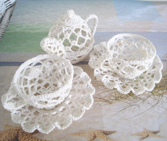 Hand Crochet : Hand Crochet Cup and Saucer Tea Set by ReneesRetro on Etsy