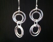 Sterling silver dangle earrings, textured circles, handmade by SuSu Studio