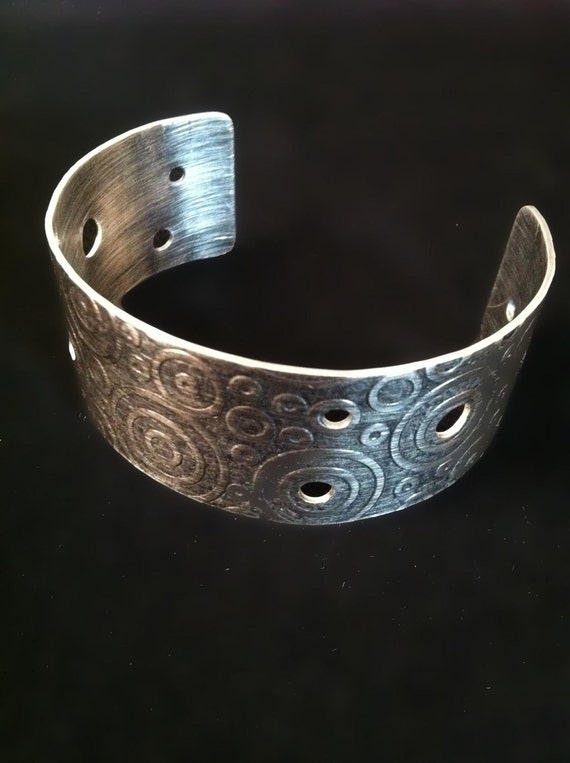 Sterling silver cuff bracelet, circle pattern and cut-outs, hand crafted by SuSu Studio