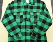 Vintage Codet green black plaid warm lumberjack shirt