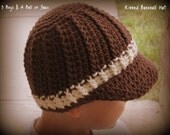 Crochet Hat / Ribbed / Cabled / Baseball / Cap / 5 Sizes /  3 Boys & A Ball of Yarn