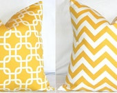Two Pillow Covers: Yellow and White Chevron Zig Zag & Gotcha Lattice