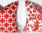 Pillow Covers - Two 18 x 18 Red and White Pillow Covers Suzani AND Gotcha Lattice Throw Pillows Accent Pillows