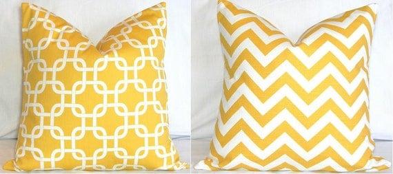 Two Pillow Covers: Yellow and White Chevron Zig Zag & Gotcha Lattice