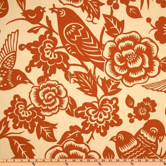 """RESERVED for Elizabeth... Two 50"""" x 84"""" Curtain Panels with BLACKOUT Lining: Tangerine Orange Birds on Light Tan Background"""