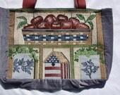 americana, folk art, tote bag, up-cycled