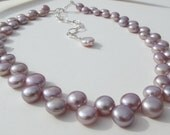 Double row freshwater pink pearl necklace