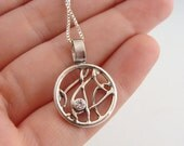Sterling Silver and Cubic Zirconia Dream Catcher Pendant