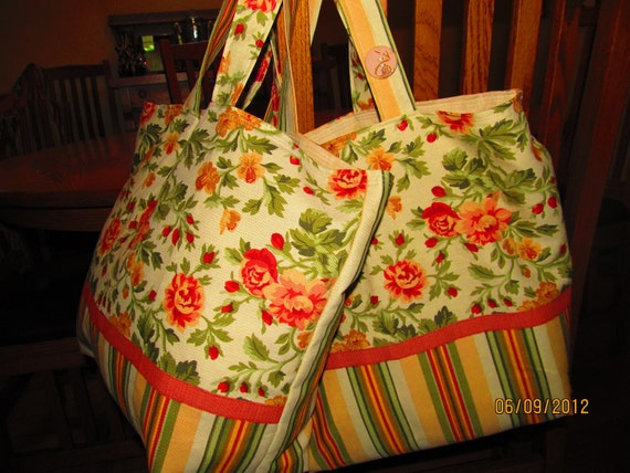 Market Bags, Reusable Grocery Bags, Lined, Set of 2, Beautiful Repurposed Striped Floral Cotton