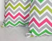 ONE - 18 x 18 Grey Multi Colored Zoom Zoom Chevron Pillow Cover - Premier Prints