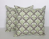 TWO 18 x 18 Pillow Covers Damask Brown and Green. Premier Prints - Decorator Pillow Covers
