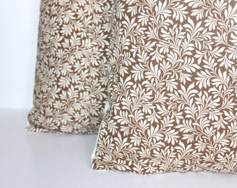 CLEARANCE // ONE 18x18 Brown and Cream Ivy Pillow Cover