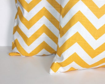 CLEARANCE - 16 x 16 Yellow and White Chevron Pillow Cover - Premier Prints