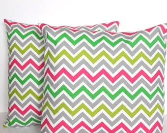 CLEARANCE 16 x 16 Pillow Covers Grey Multi Colored Chevron Zigzag  - Decorator Pillow Covers
