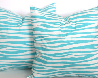 CLEARANCE - 16 x 16 Girly Blue and White Tunisia Pillow Cover - Premier Prints