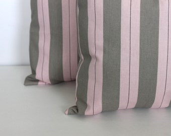 CLEARANCE - Free shipping  - 18 x 18 Pillow Covers Pink and Grey Stripe. Premier Prints - Decorator Pillow Covers