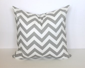 CLEARANCE - 16 x 16 Grey and White Chevron Pillow Cover - Premier Prints
