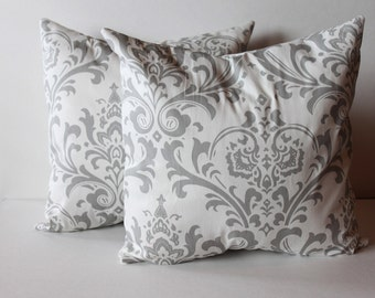 CLEARANCE - 16 x 16 Grey and White Damask Pillow Cover - Premier Prints
